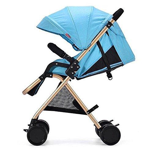 QXMEI High Landscape Stroller Reclinable Silla De Paseo Reclinable Ligera Suspension Plegable Baby Umbrella,Blue