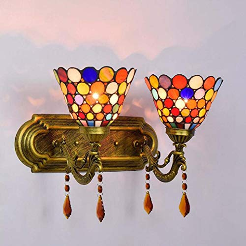 (6-Inch Tiffany Style Wall Lamp Colorful Glass Crystal Double Head Wall Light, Bedroom Bedside Lamp Mirror Headlight Mediterranean Wall Sconces,E27,110V-220V,B)