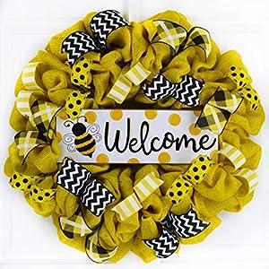 Bee Burlap Door Wreath   Honeybee Welcome Colorful Summer Wreath   Yellow Black White 95