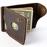 Leather Money Clip Gift Wallet Brown Mens Wallets Holder Minimalist Bifold