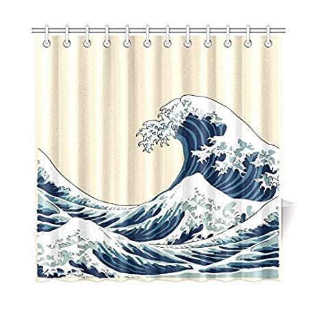 InterestPrint Ocean Wave Decor Waterproof Mildew Fabric Bathroom Accessory The Great Off Kanagawa Vintage
