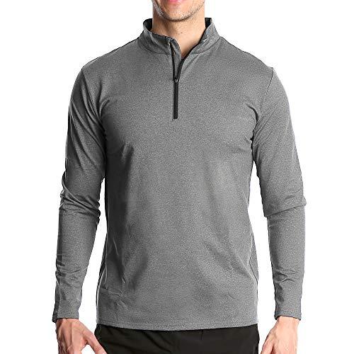 Fort Isle Men's Long Sleeve Half-Zip Pull Over Shirt - M - Light Gray - Quick Dry Performance for Running