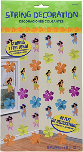 amscan Sun-Sational Summer Luau Party Hula Girl String Decorations, Paper, 7 Feet, Pack of 6 ()