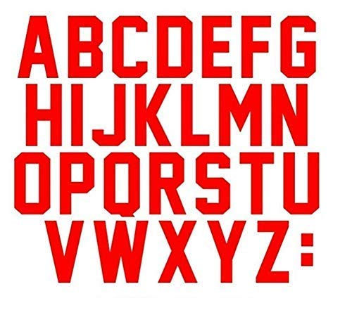 3 Inch Tall Letters Iron On Heat Transfer Vinyl for Sports T-Shirt Jersey Football Baseball,Team,t-Shirt (Black kit) (red)