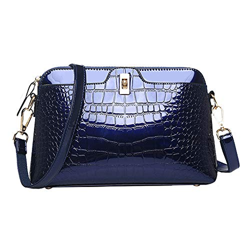 Danse Jupe Women Crocodile Print Shoulder Bag Patent Leather Handbag Fashion Crossbody Shell Bag(Blue)