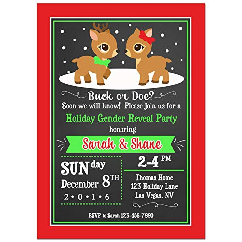 Christmas Party Invitation - Christmas Invitation - Twin Birthday, Twins Baby Shower, Gender Reveal - Red and Green Reindeer Collection