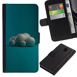 KingStore / Leather Etui en cuir / Samsung Galaxy Note 3 III / Perlas Blancas