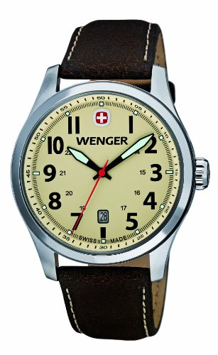 Wenger Terragraph Men's Quartz Watch with Beige Dial Analogue Display and Brown Leather Strap 010541106