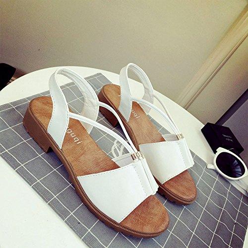 SKY Comfortable to wear it !!! Moda Sandalias Mujeres La Sra simples sandalias romanas de tacón bajo 1-3cm Platform Height Blanco