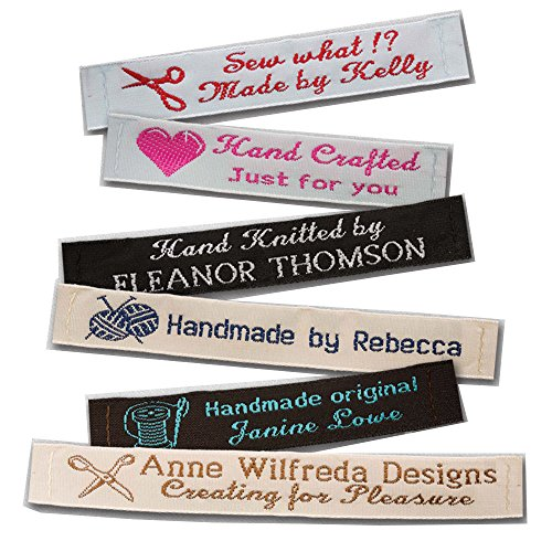 100 Personalized 100% Woven Sewing Labels 1/2'' Wide - made by Label Weavers by Label Weavers