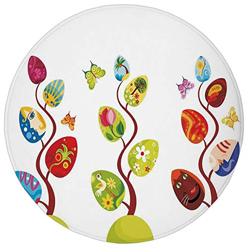 Round Rug Mat Carpet,Magical,Magic Tree Branches with Diverse