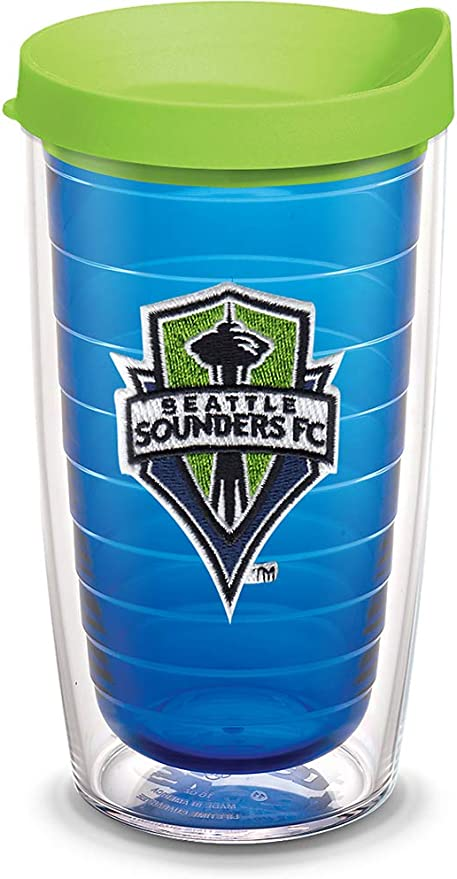 Tervis 1123347 MLS Blue Seattle Sounders FC Tumbler with Emblem and Lime Green Lid 16oz