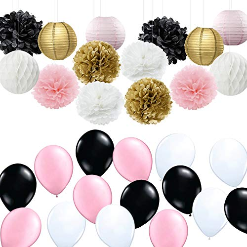 French/Parisian Birthday Party Ideas Pink Gold White Black Paris Party Decorations Tissue Paper Pom Pom Latex Ballons/Paper Lantern for Girls' Birthday Decorations Ooh La La Baby Shower Decorations -