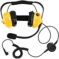 Bommeow BHDH50-YW-M1A Ear Pad Noise Isolating Headset for Motorola RMV2080 RMU2080 Walkie Talkies in Yellow