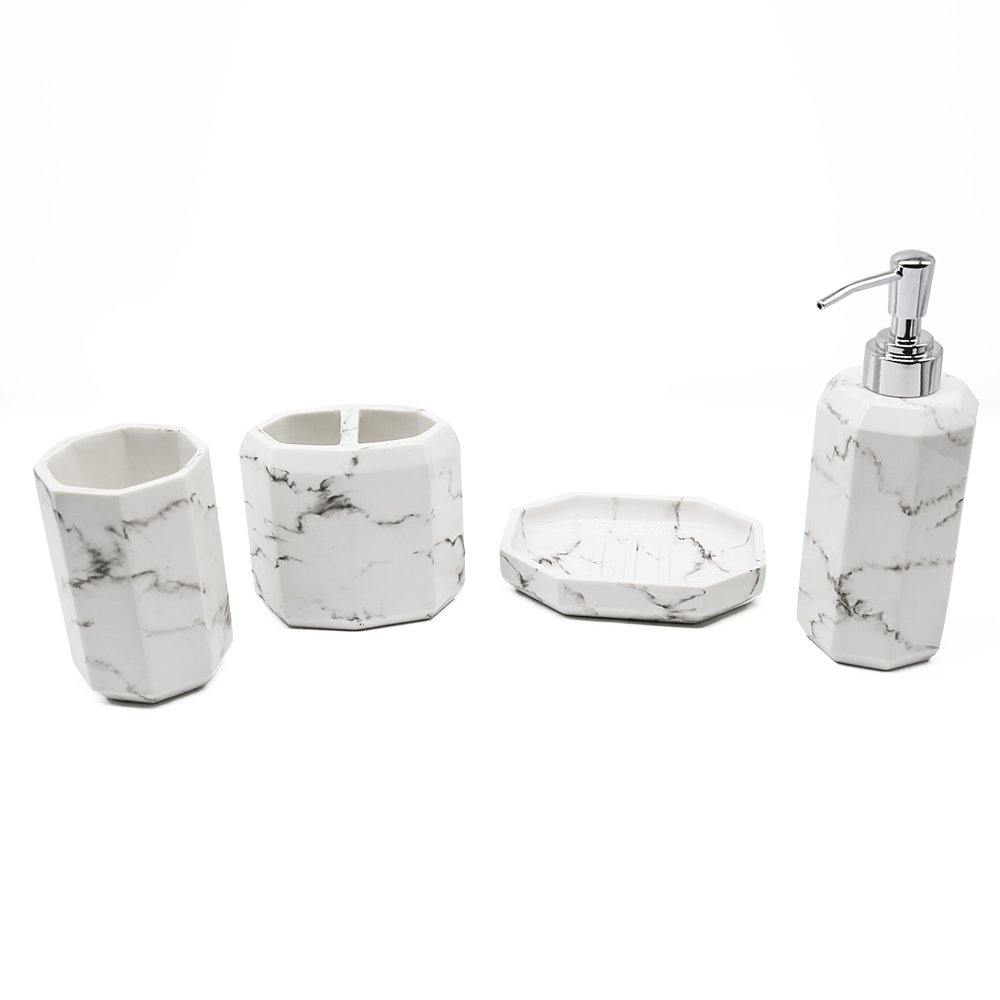 Bathpro Marble Style Bath and Shower Accessories ,4-PIECE Bath ...