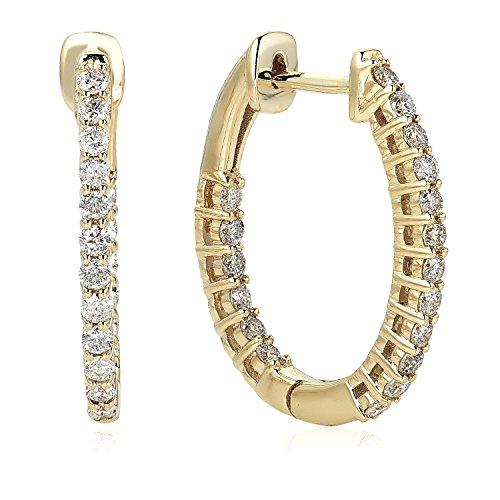 Diamond 1/2 ct Inside Out Oval Hoop Earrings in 10K Yellow Gold