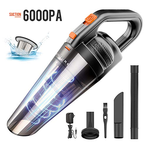 Handheld Vacuum Cordless,HONITURE Vacuum Cleaner 6KPA Power Suction Rechargeable Quick Charge Wet&Dry Hand Vac for Home, Pet Hair, Dust, Car Cleaning