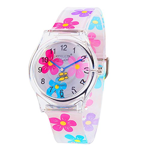 (Teen Young Girls Children Kids Time Teacher Watches, Colorful Flower Resin Band(Pink))