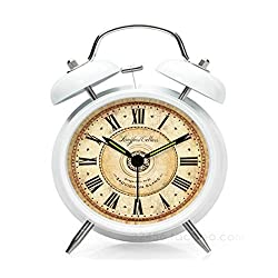 Alarm Clock Sound Effect Silence Wake Up Digital Vintage style Retro Alarm Clock Roman Numerals Metallic With Twin Bell Clock Alarm With Light Snazzy & Orthodox European Style