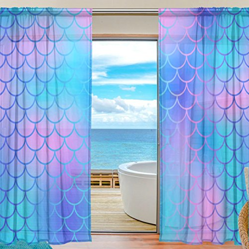 My Little Nest Colorful Magic Mermaid Fish Scale Pattern Sheer Window Curtains Drapes 55 X 84 Inch Decorative Window Treatments for Bedroom Living Room 2 Panels ()