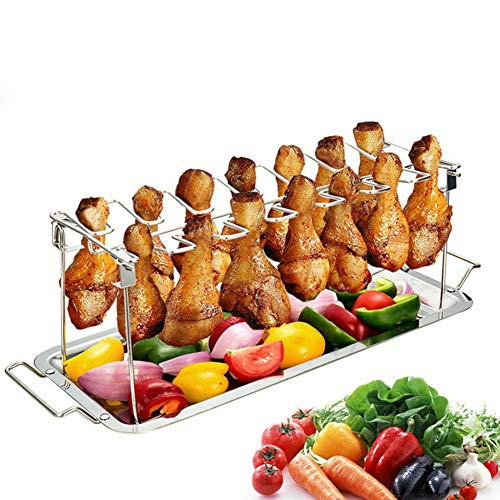 (Homeself Chicken Wing Leg Rack Grill, Collapsible Stainless Steel Barbecue Roaster Stand Tray BBQ Drip Pan Rack Holder Kitchen Tools Oven Accessories (Silver) )