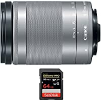 Canon EF-M 18-150 f/3.5-6.3 IS STM Zoom Lens for EOS M Series Cameras Silver (1376C002) with Sandisk Extreme PRO SDXC 64GB UHS-1 Memory Card
