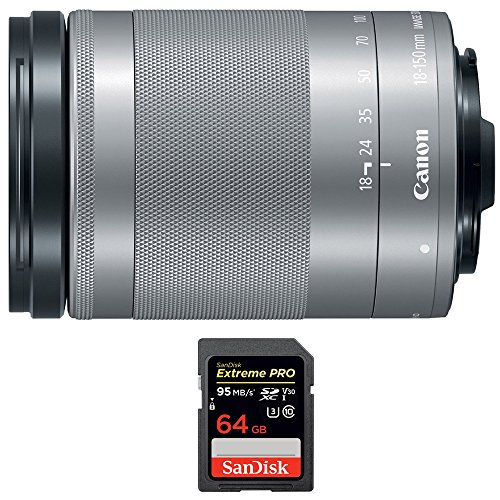 Canon EF-M 18-150 f/3.5-6.3 IS STM Zoom Lens for EOS M Series Cameras Silver (1376C002) with Sandisk Extreme PRO SDXC 64GB UHS-1 Memory Card by Canon