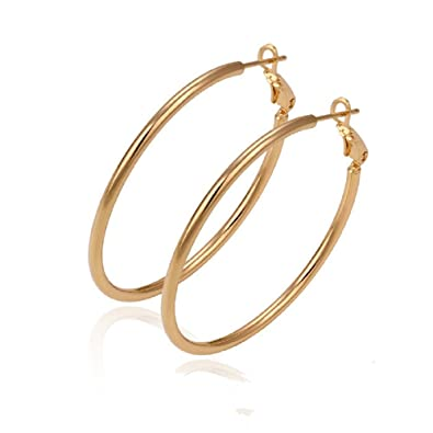 a0f6037c1a561 9ct 9K Gold Plated Ladies Girls Plain Large Hoop Earrings 50mm Gift