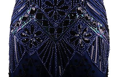 Vijiv Women 1920s Gastby Sequin Art Nouveau Embellished Fringed Flapper Dress Blue Small