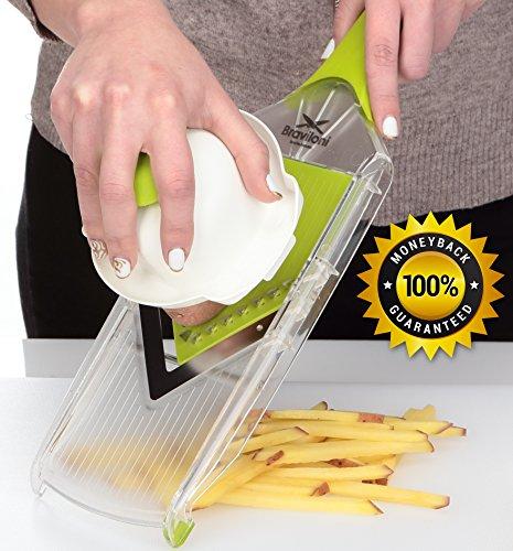 Mandoline Slicer - Vegetable Potato Slicer Grater - Cutter for Tomato, Onion, Cucumber, Zucchini Pasta, Cheese - Julienne Veggie Peeler Chopper - Slicer for Vegetables, Fruits and Cheese - Board