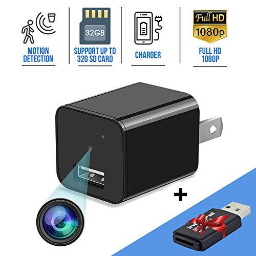 Spy Hidden Camera Wireless Nanny Cam Mini Surveillance Camera with Audio Recorder Tiny Home Camera Spy Gear Wide-Angle Secret Spy Hidden Cams USB Charger Camera Motion Detector Security, No WiFi (Spy Video Recorder Camera)