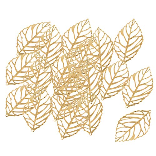- Baosity 30 Pieces Hollowed Leaf Shape Bail Charms for Earring Drops DIY Crafts Accessory Jewelry Making Findings Crafts Ornaments Metal - Gold