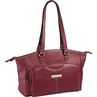 """free shipping Clark & Mayfield Alder Leather 15.6 """" Laptop Handbag, Computer Tote Bag in Red"""