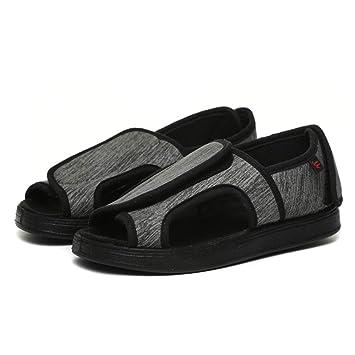 Willsky Zapatos diabéticos para Hombres, Espuma de Memoria Zapatillas para diabéticos Unisex Punta Abierta Ancho Ajustable Velcro Artritis cómoda Edema ...