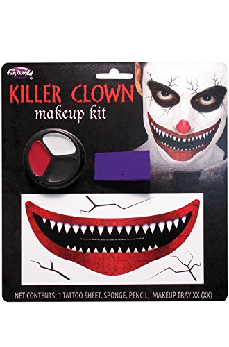Fun World Unisex-Adult's Killer Clown Make-up Kit, Multi, Standard (Multi Makeup Kit)
