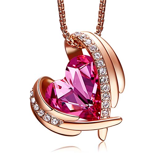 Pink Angel 18K Rose Gold Plated Pendant Necklaces Women Swarovski Necklace Heart Jewelry Fashion, Gift for Her
