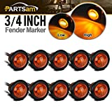 Partsam 10Pcs 3/4' Round Led Marker lights 3 wire Combination Turn Signal and Running Lamps Clearance Lights Grommet Mount Replacement for Jeep Spider Fender Marker Lights Sealed