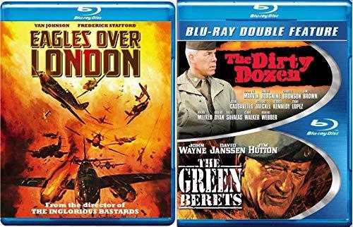 Dirty Battle Triple War Movie Collection + Green Berets John Wayne Blu Ray / Dirty Dozen & Eagles over London Pack Military Movie Action Set 3 Film Favorites Bundle (Flag Eagle Nazi)