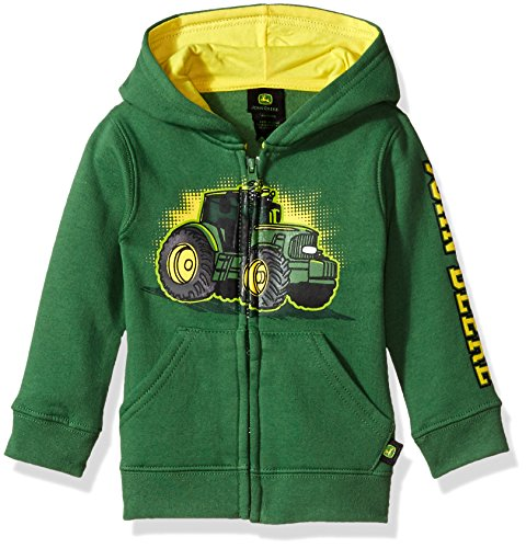 John Deere Tractor Infant Toddler Boy Zip Front Fleece Hoody Sweatshirt, green, ()