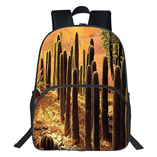 Oobon Kids Toddler School Waterproof 3D Cartoon Backpack, Sunset in Wild Nature Hot Desert Botanic Mexican Trees Leaves Sand Photo Image, Fits 14 Inch Laptop