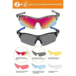 Polarized Sunglasses Mens Sunglasses 2 Pair Sports Sunglasses with 4 Interchangeable Lenses, Tr90 Unbreakable Sunglasses for Men Women Cycling Golf Fishing Sunglasses