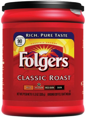 Folgers Classic Roast Ground Coffee, 11.3 Ounce (Pack of 6)
