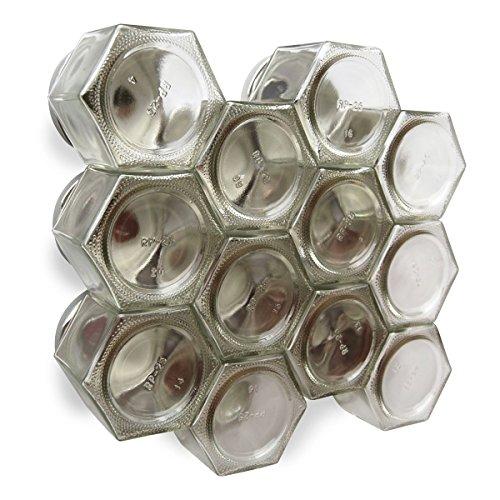 Grande DIY Hex: Especiero magnético por gneis especias. Incluye 12 grande 113,4 G Allen frascos de vidrio. Especias para...