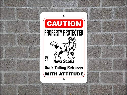Mu Dou Zhi Neng Decorative Signs with Sayings 9 x 12 Property Protected by Nova Scotia Duck-Tolling Retriever Guard Dog Warning Breed Metal Aluminum Wall Sign Safety Sign -