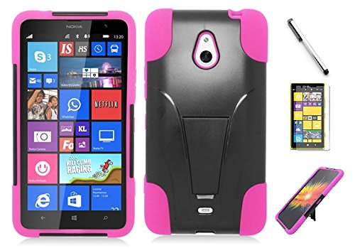 Nokia Cell Phone Faceplates (Nokia Lumia 1320 case, Luckiefind Premium Hybrid Dual Layer Case with Stand, Stylus Pen, Screen Protector Accessory. (Stand Pink))