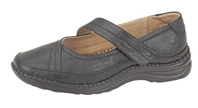 4f2772bbd72 Womens Extra Wide EEE Fit Velcro Leather Lined Casual Shoes Size 3 - 9  BLACK (