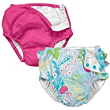i Play 2 Pack Girls Reusable Baby Swim Diapers Coral Reef and Hot Pink 24M