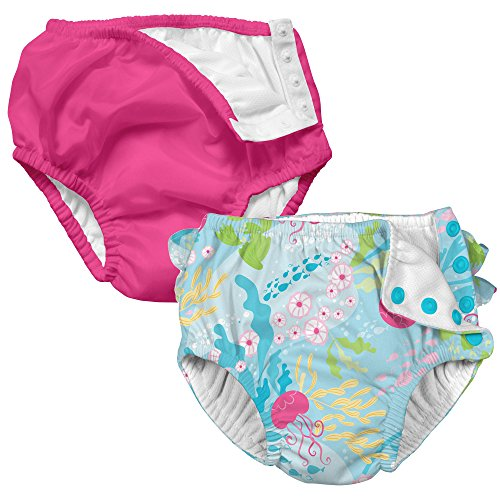 i Play 2 Pack Girls Reusable Baby Swim Diapers Coral Reef and Hot Pink 24M by i play.