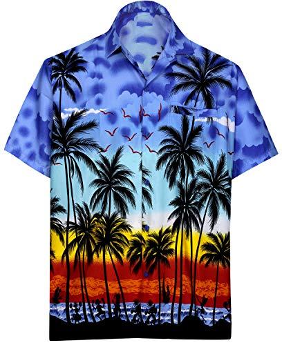 LA LEELA Men's Casual Button Down Short Sleeve Shirt for Men Blue_AA106 ()