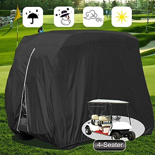 Pawsky 4 Passenger Golf Cart Cover, Waterproof Outdoor Golf Cart Cover for EZ GO Club Car Yamaha Golf Carts, Sunproof Dustproof 4 Seat Club Car Cover